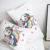 Custom Pillow Case Pillowcase 50x70 50x75 50x80 70x70 Decorative Pillow Cover cute unicorn Cartoon Bedding for Kids Baby Child