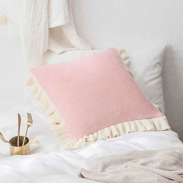 Simple Solid Three-dimensional Lace Cotton Decorative Cushion Cover Baby Pillow Case Soft Decorative Pillows Seat Pillow Cover