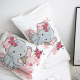 3D Cartoon Pillow Case Pillowcase Custom/50x70/50x75,Decorative Pillow Cover,Pink elephant Bedding for Kids/Baby/Child/Girl