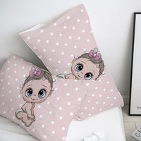 3D Cartoon Pillow Case Pillowcase Custom/50x70/50x75,Cute baby pink Decorative Pillow Cover,Bedding for Kids/Children/Boy/Girl