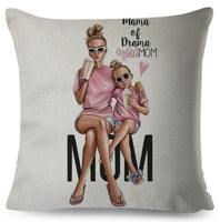 Super Mom Linen Pillow Case 45 * 45cm Mother and Baby Pillow Case, Family Car Decoration Super Dad Pillow Case Mother's Day Gift