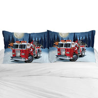 3D Cartoon Pillow Case for Children/Baby,Kids Pillowcase 45x45/50x70,Decorative Pillow Cover Bedding Christmas Fire truck