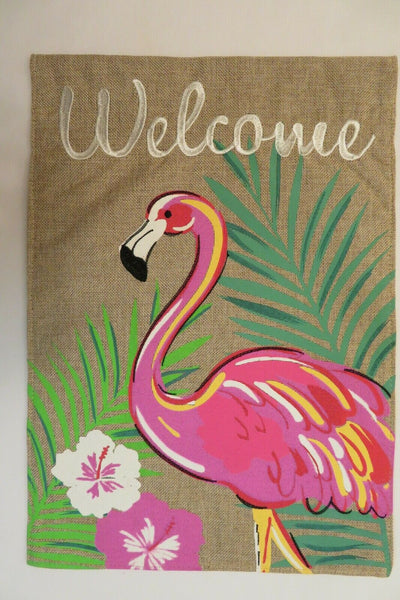 """Welcome"" Summer Flamingo & Palm Fronds on Burlap -look decorative Garden flag"