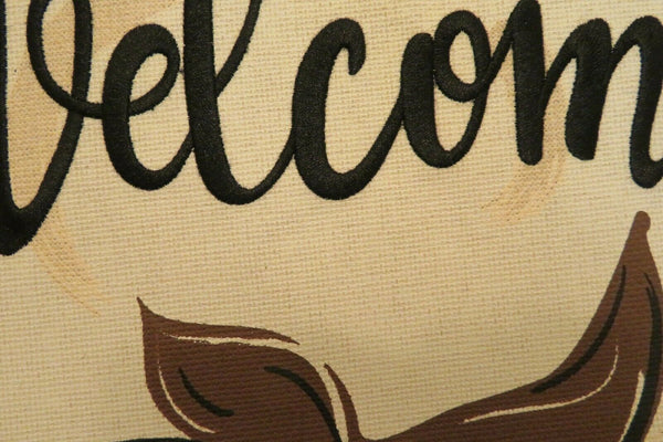 """Welcome"" Cotton Boll, Farm, Agriculture, Burlap -Look, decorative Garden flag"
