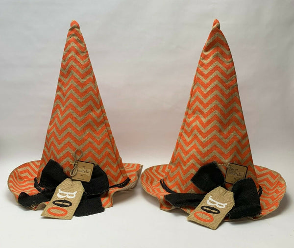 (Set of 2) Mud Pie Canvas Large Witch Hat Halloween Decoration #4265174 - NEW