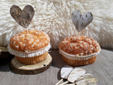 10 Hessian Burlap Birch Heart Wedding Cake Toppers Rustic Cupcake Decorations