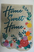 """Home Sweet Home"" Spring Flowers, Burlap -look, applique decorative Garden flag"
