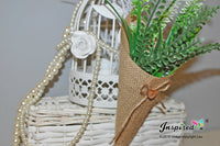 10 Hanging burlap Wedding decor heart Basket Pew Cone wall organizer Rustic