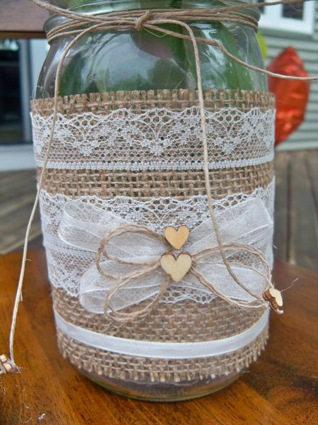 10 Burlap Mason Jar Sleeves, DIY Wedding Decorations, Rustic Wedding Decorations