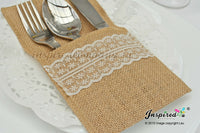 25 x Wedding Cutlery Holders Burlap Hessian Table Decor Party Cream Lace #13