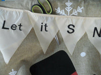 """Let it SNOW"" Streamer & Snowman Burlap -look, Winter decorative HOUSE flag"
