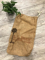VTG Burlap Bag Sack L L BEAN Advertising Country Decor Drawstring #H1
