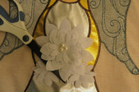 """blessed"" Shiny Gold & Silver Hair & Wings, Burlap -Look decorative Garden flag"
