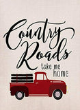 Artofy Country Roads Red Truck Small Garden Flag Double Sided, Home Decorative B