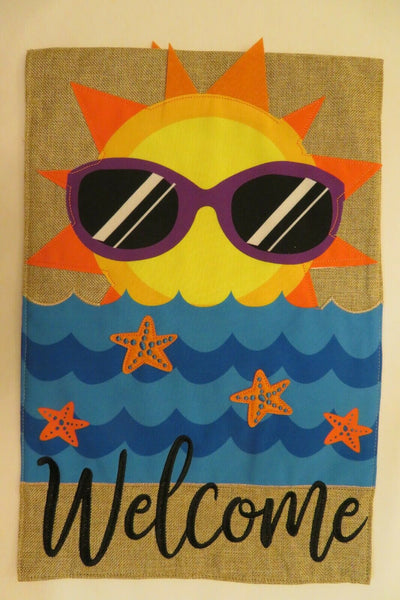 """Welcome"" Sun in Sunshades Rises over Water, Burlap -look decorative Garden flag"