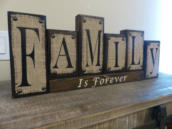 Family is Forever Sign Wood Blocks Letters Rustic Burlap Home Decor Gift