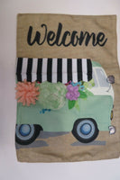 """Welcome"" Peace Bus Camper w/ Flowers Summer Burlap -Look decorative Garden flag"