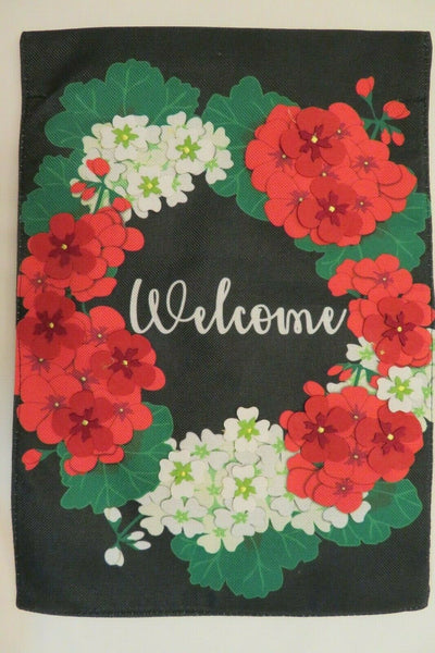 """Welcome"" Red & White Flower Wreath, Black Burlap -look, decorative Garden Flag"