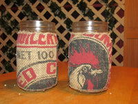 2 pc. seed bag canning ars w/ decorative burlap country design. nib.