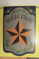 """WELCOME"" Star for Every day use, on Burlap -look, decorative HOUSE flag 2-sided"