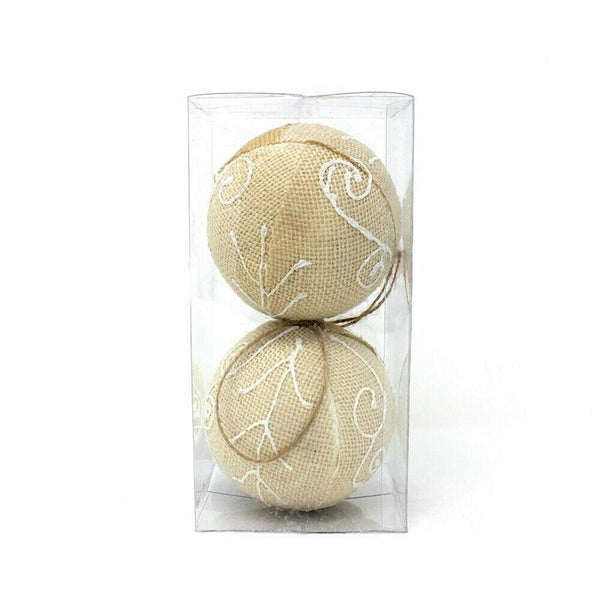 10 CM Burlap with Accent Christmas Ball Ornament Decoration (2 PCS)