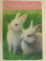 """Happy Easter"" Two White Bunny Rabbit in Grass, Spring decorative Garden flag"
