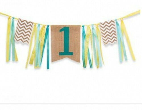 1st birthday decorations,Baby Boy's first Birthday Banner,Burlap Highchair