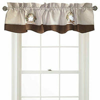 "Violet Linen Artistic Decorative Burlap, 60"" x 15"" Window Valance - Brown"