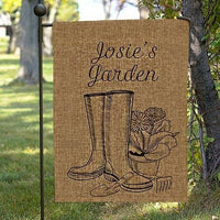 """Spring Boots"" Personalized BURLAP Garden Flag Yard Banner Decoration"