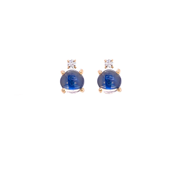 BLUE MOONSTONE STUD AND DIAMOND EARRINGS