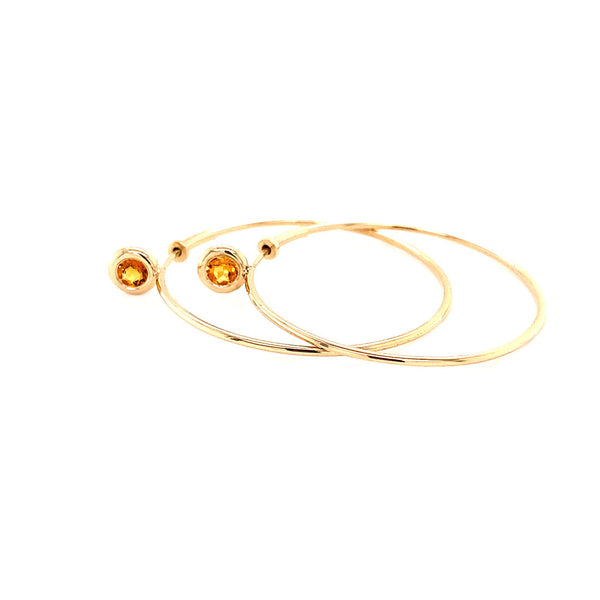 SINGLE STONE MEDIUM GYPSY HOOP - CITRINE
