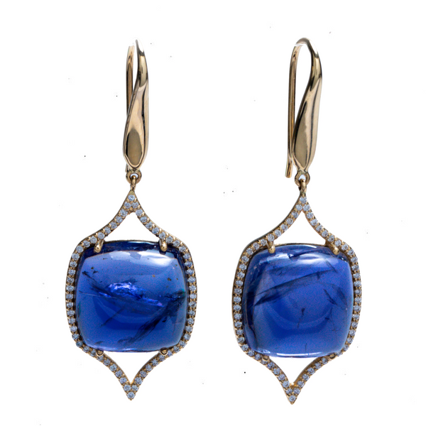 ONE OF A KIND.....IOLITE AND DIAMOND EARRINGS