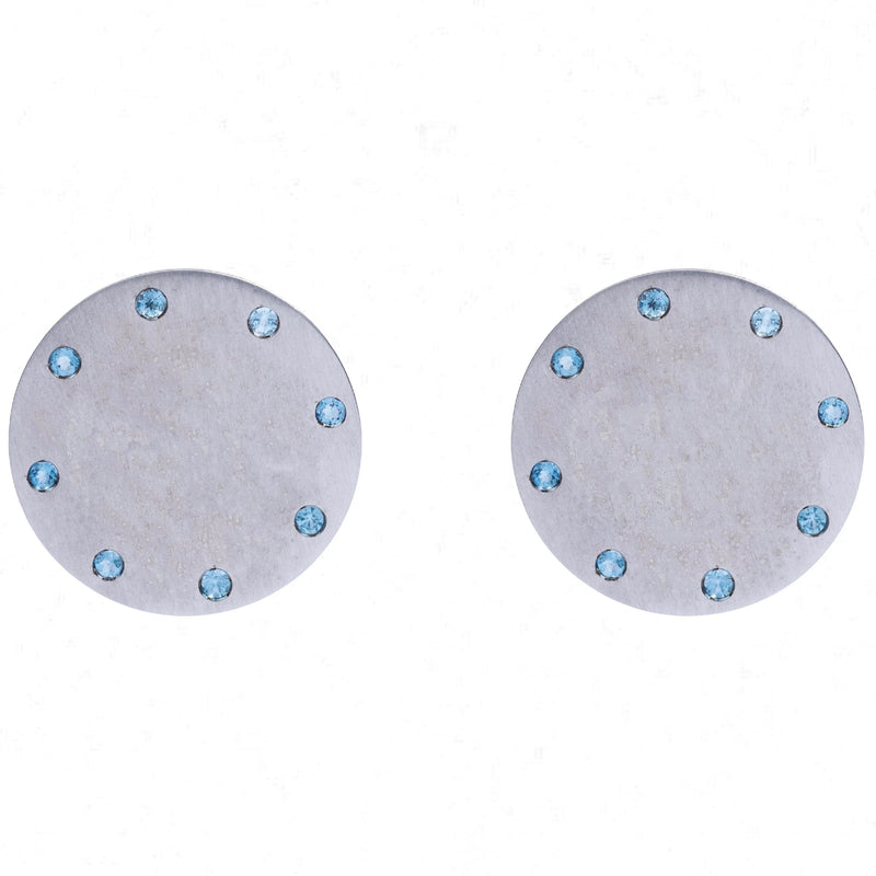 SPHERE POST EARRINGS - AQUAMARINE