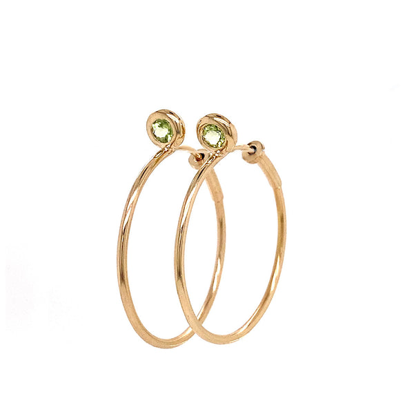 SINGLE STONE BABY GYPSY HOOPS - PERIDOT