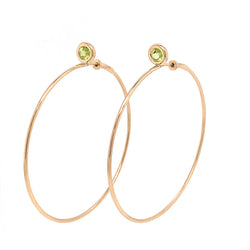 SINGLE STONE LARGE GYPSY HOOP -PERIDOT
