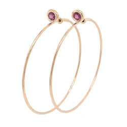 SINGLE STONE LARGE GYPSY HOOP - RHODOLITE GARNET