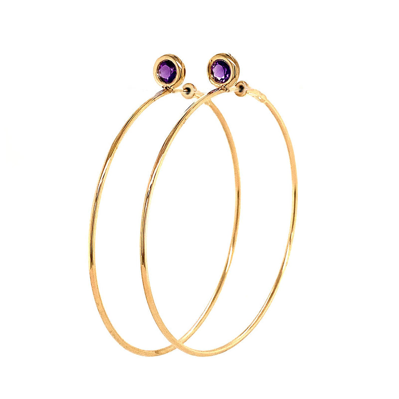 SINGLE STONE MEDIUM GYPSY HOOP - AMETHYST