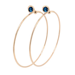 SINGLE STONE LARGE GYPSY HOOP - LONDON BLUE TOPAZ