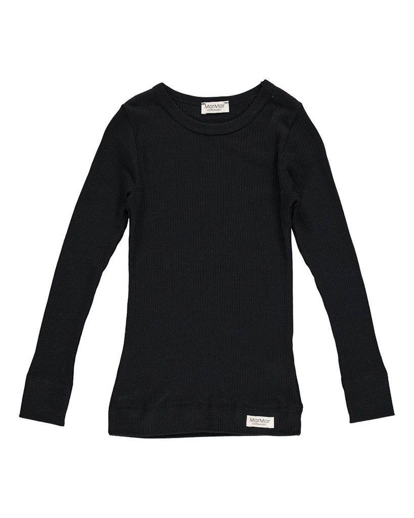 black ribbed long sleeve tee