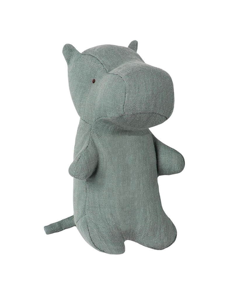 dusty green linen hippo stuffed animal