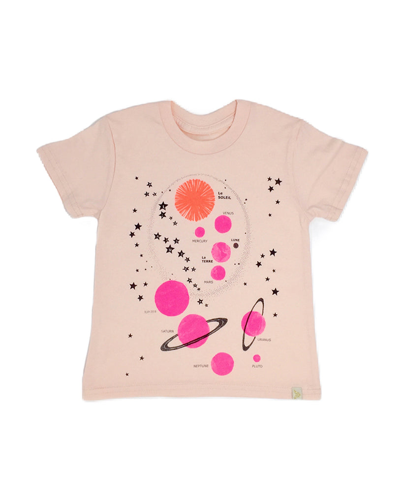 pink solar system graphic print t-shirt
