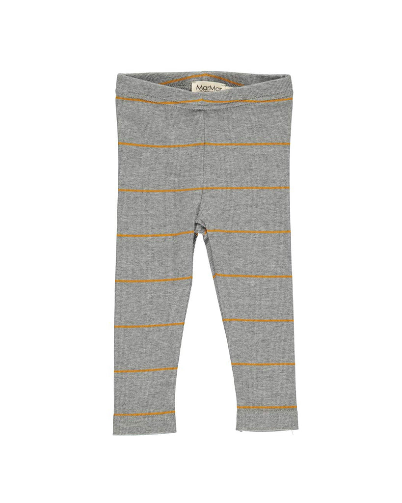grey ribbed leggings with mustard stripes