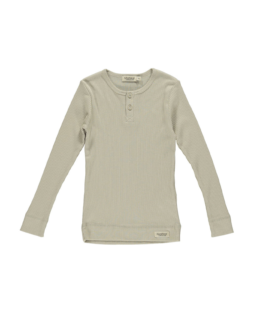 grey sand rib long sleeve tee with buttons