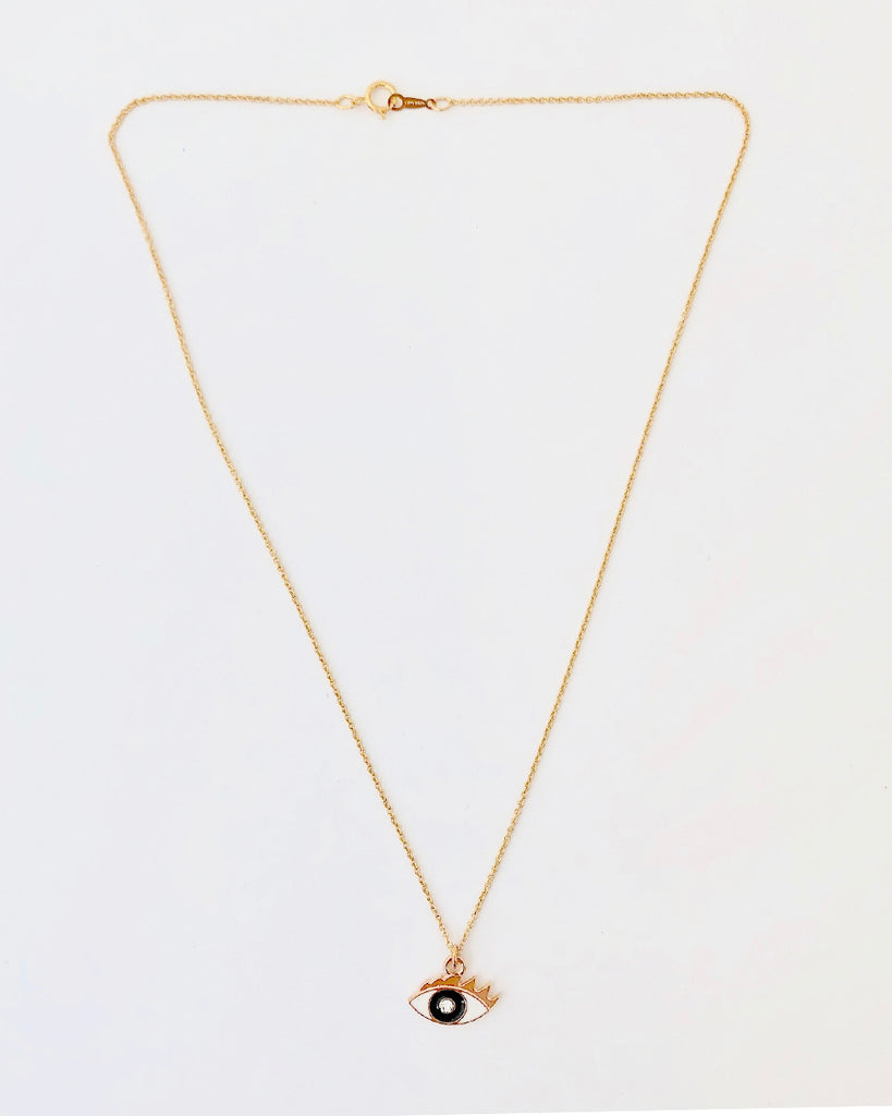 Gold filled crystal eye pendant necklace