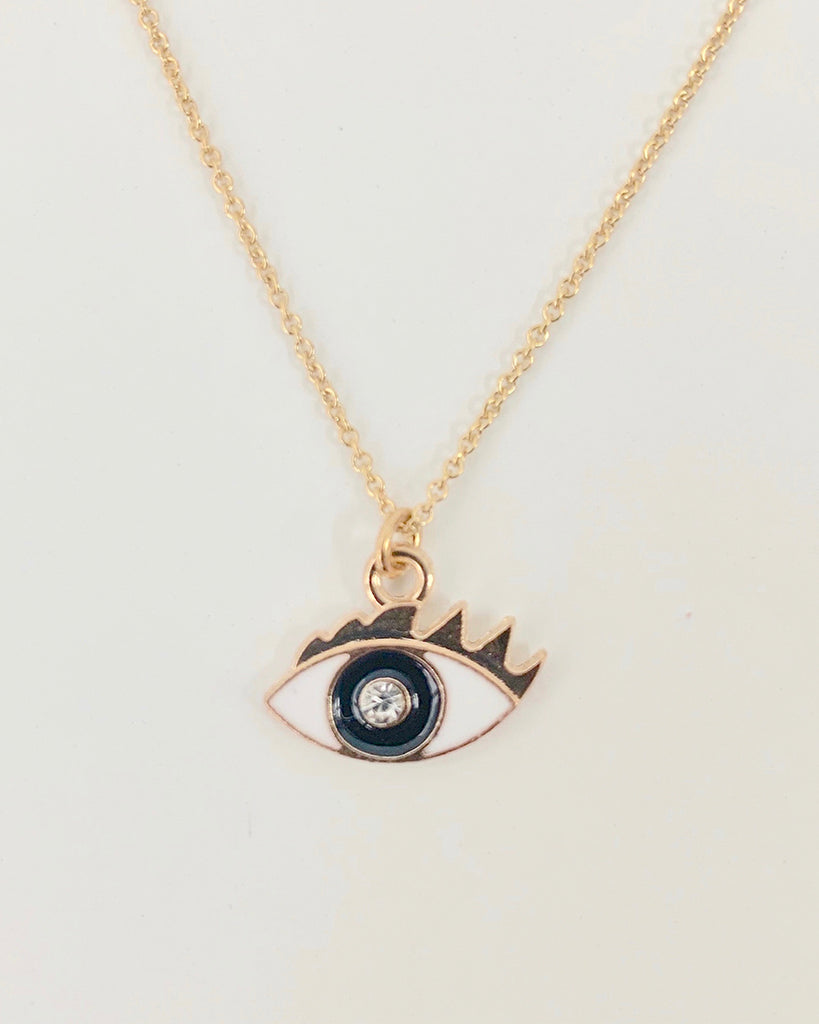 Gold filled crystal eye pendant necklace close up