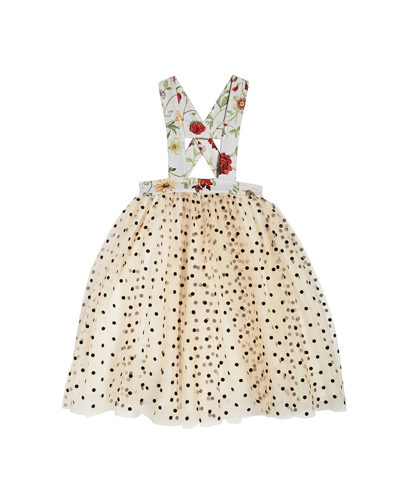 tulle polkadot dress with floral suspenders