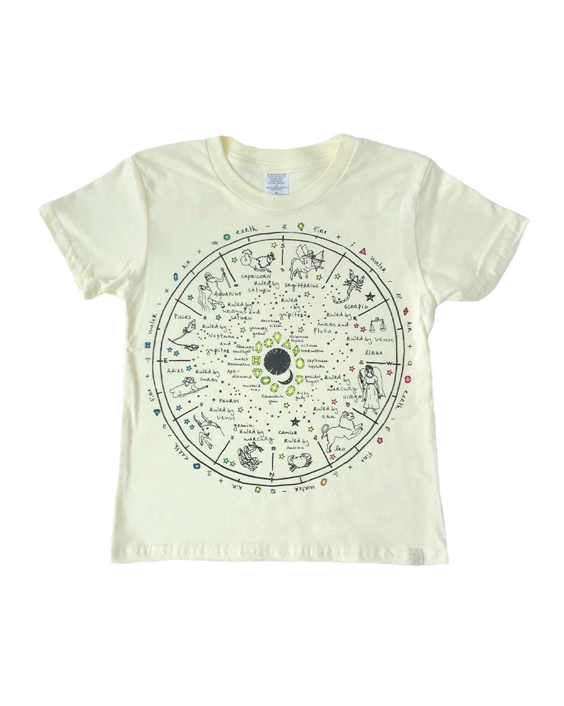 yellow graphic t-shirt with a zodiac wheel print