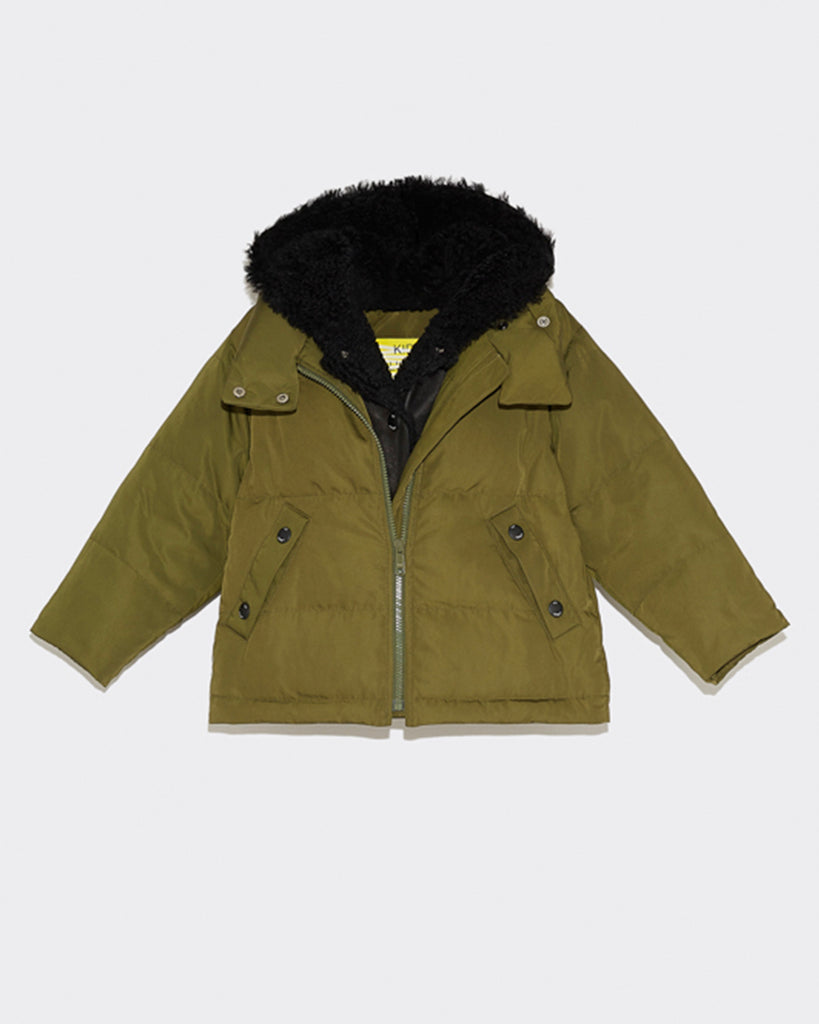 Green padded down jacket with dark shearling trim hood