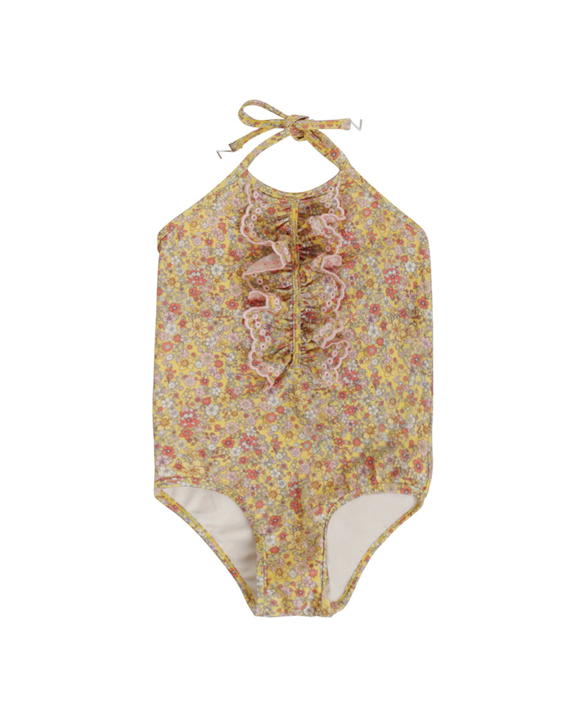 Carnaby Ruffle Halter Swimsuit - Yellow Floral