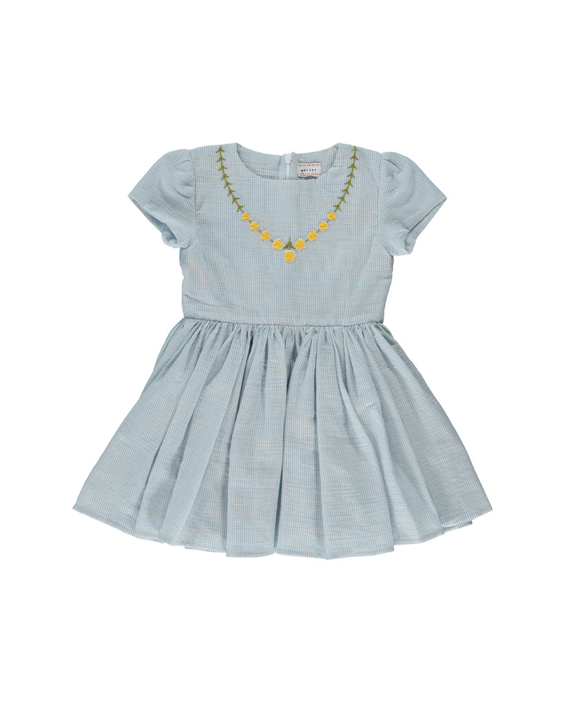 light blue pattern short sleeve dress with floral embroidery detail
